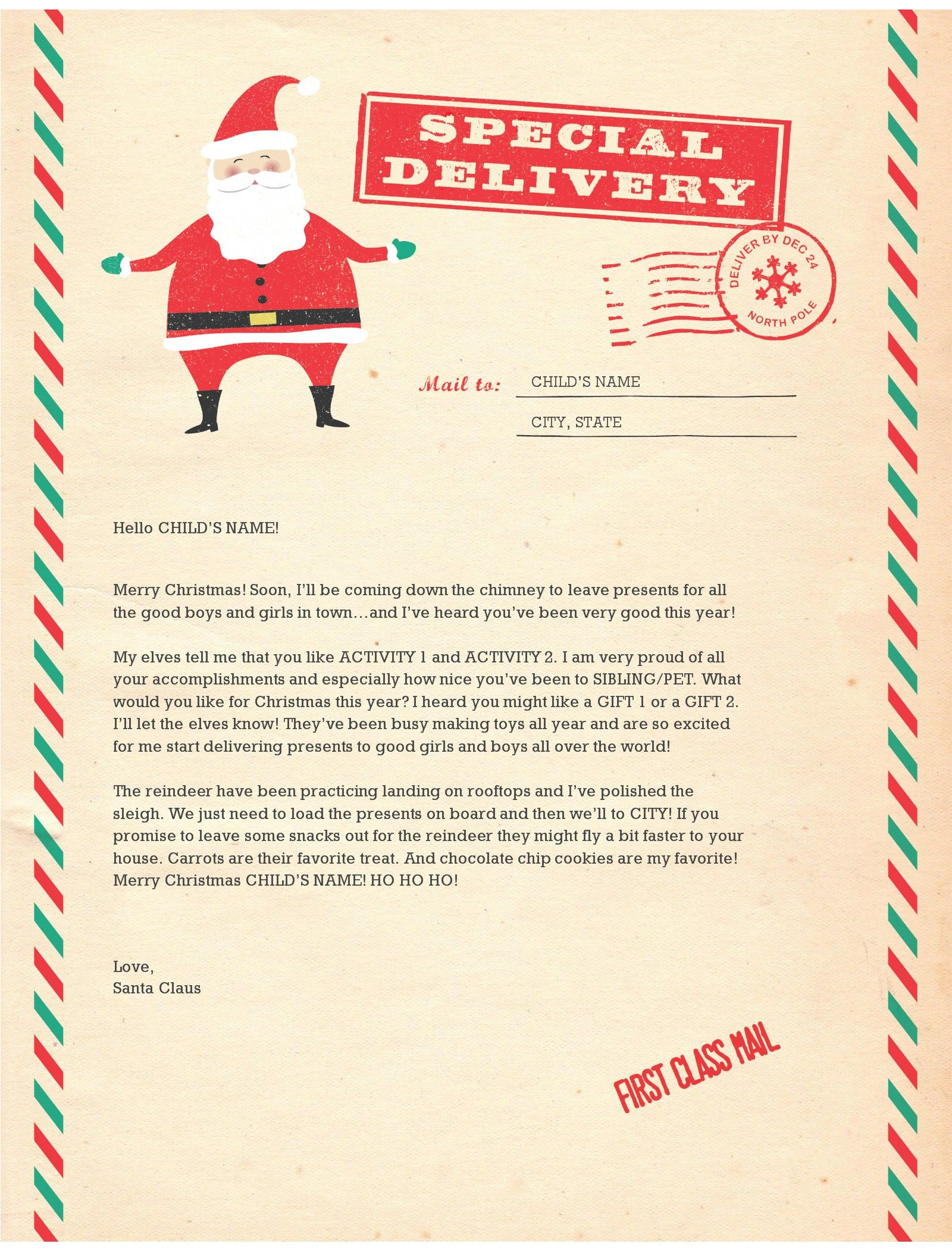 letters from father christmas santa letter templates santa 13909