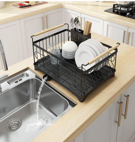 Rust Proof Kitchen Draining Dish Drying Rack Dish Rack With Black Drain Board In 2020 Dish Rack Drying Kitchen Storage Shelves Sink Dish Rack