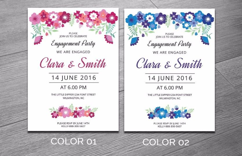 Engagement Invitation Template Word Indesign And Psd Format