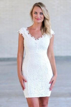 off white lace rehearsal dinner and bridal shower dress