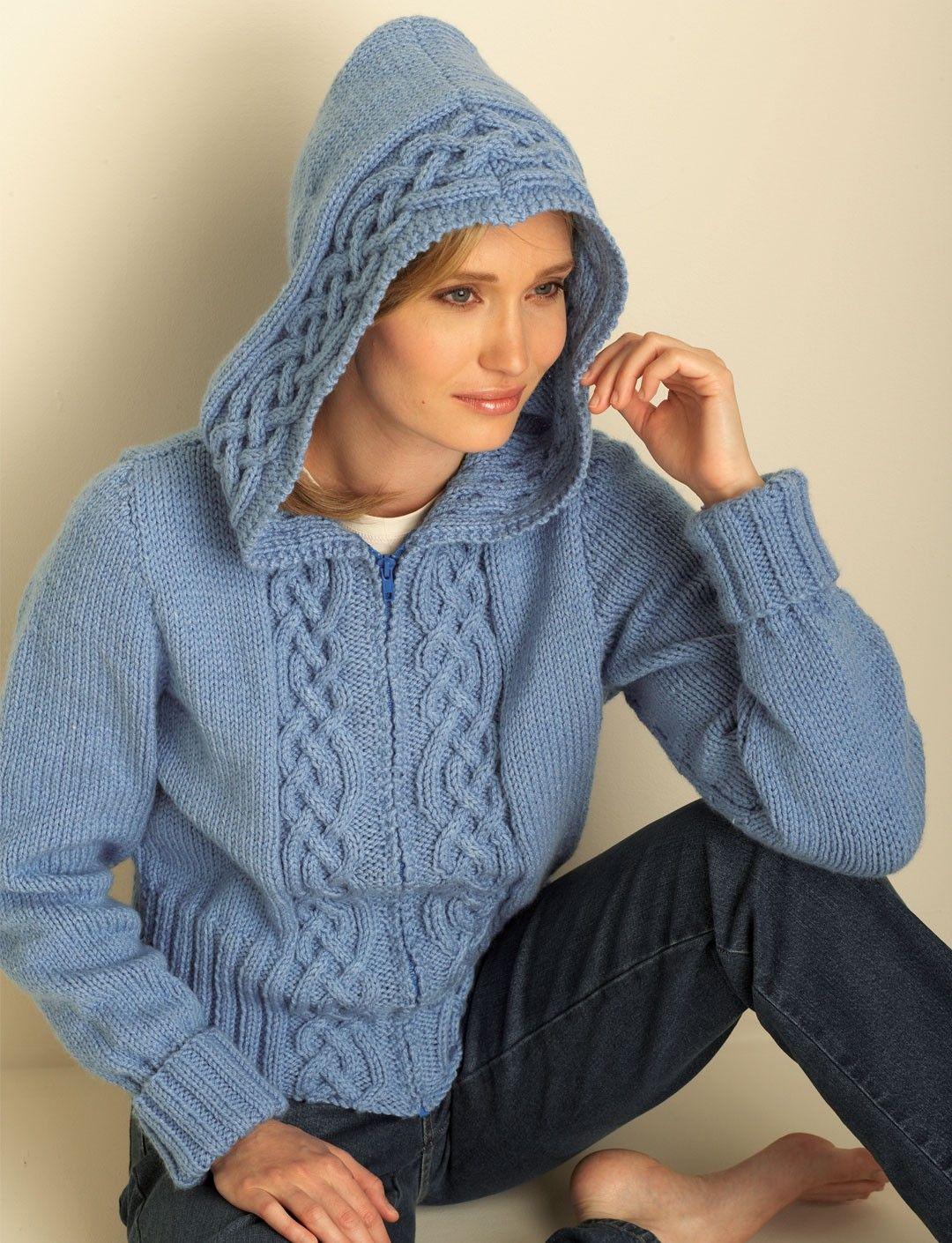 Yarnspirations.com - Bernat Cozy Cable Hooded Cardigan - Patterns ...