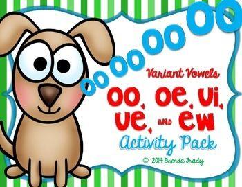 Variant Vowels: oo, oe, ui, ue, ew ~Phonics~ Activity Pack | Word
