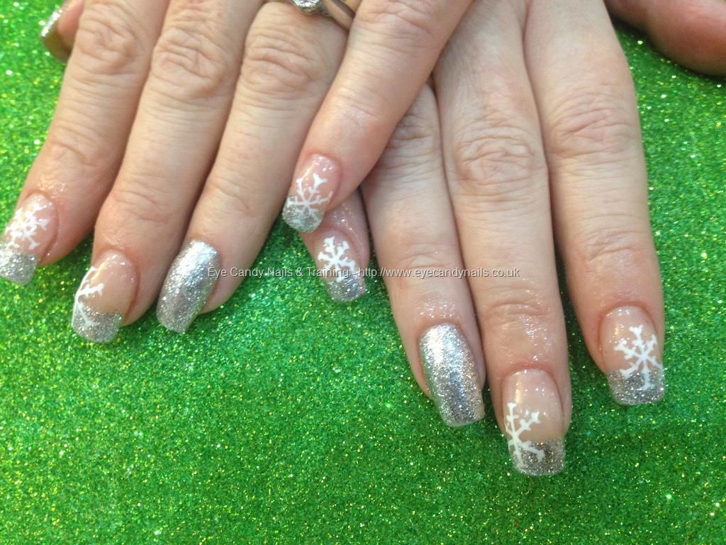 Acrylic nails with silver glitter dust white snowflake nail art ...