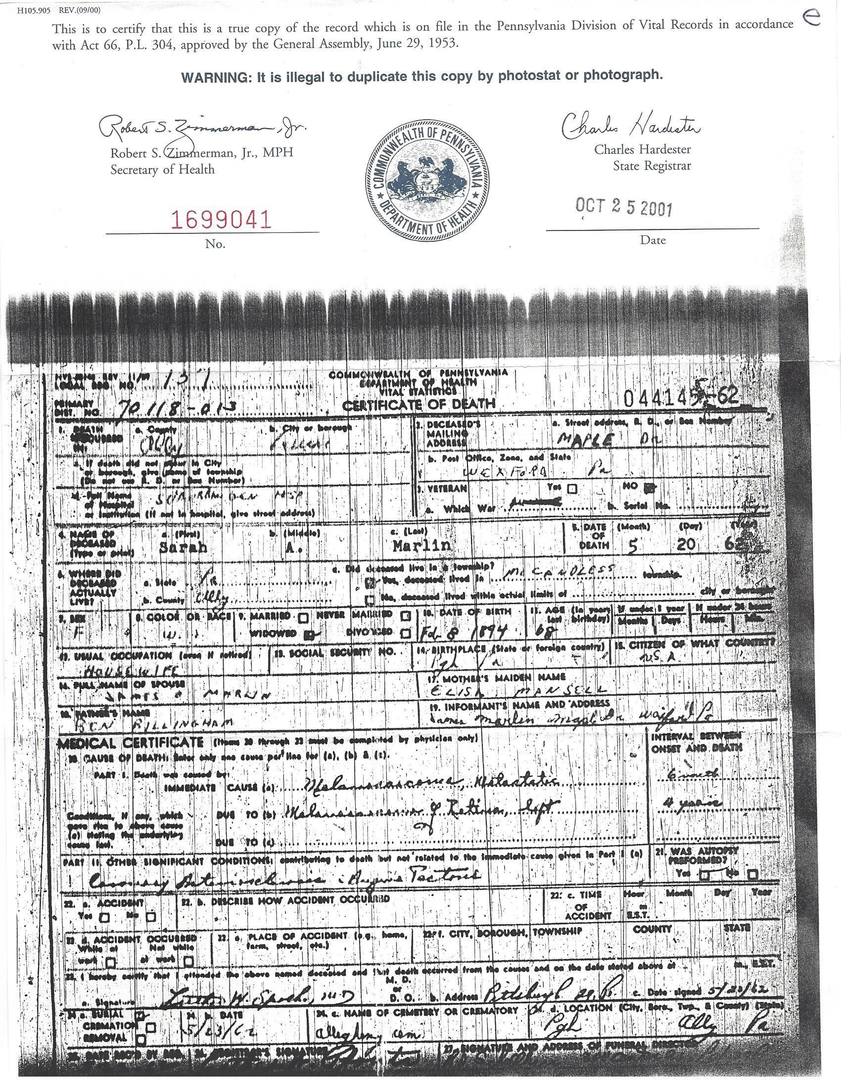 Death Certificate For Sarah Ann Sadie Marlin Daughter Of Benjamin