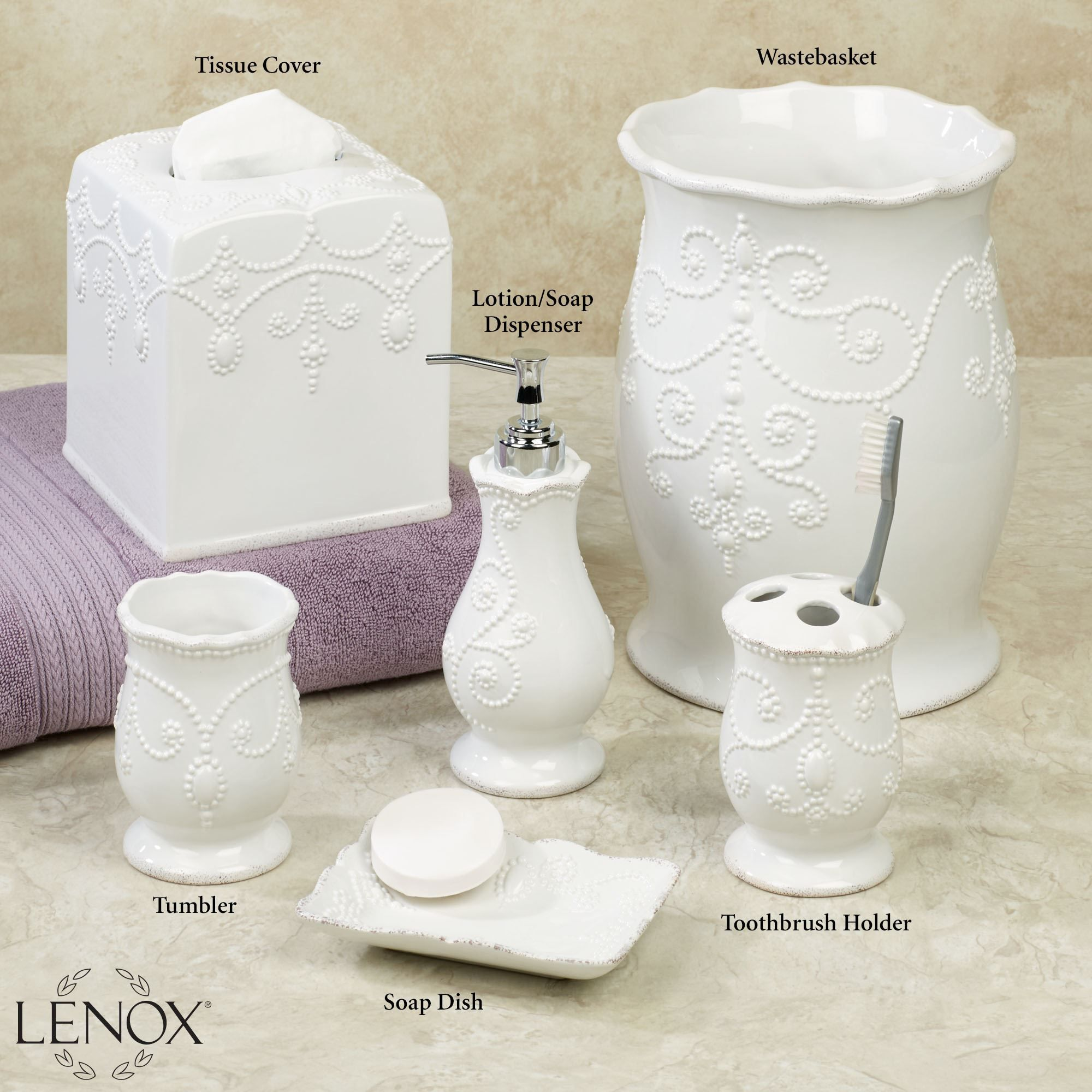 Charmant Lenox French Perle White Bath Accessories
