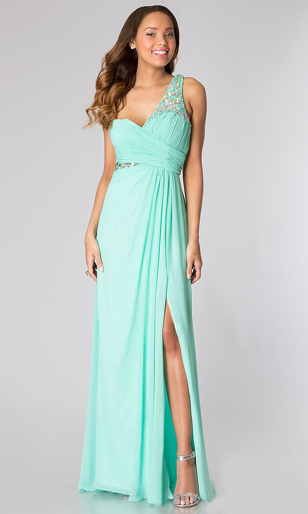 One shoulder chiffon long mint prom dress illusion back beads