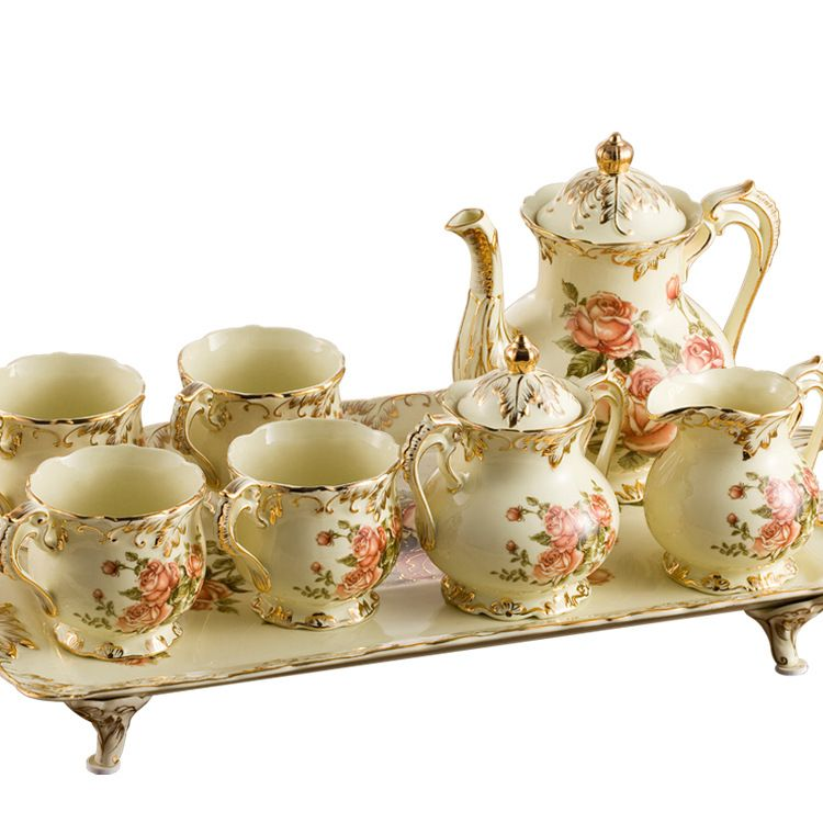 Piece Creative European England Luxury Hand Painted Red And Gold Rose Flower Ivory Porcelain Ceramic Coffee Set Tea Service For Wedding Check