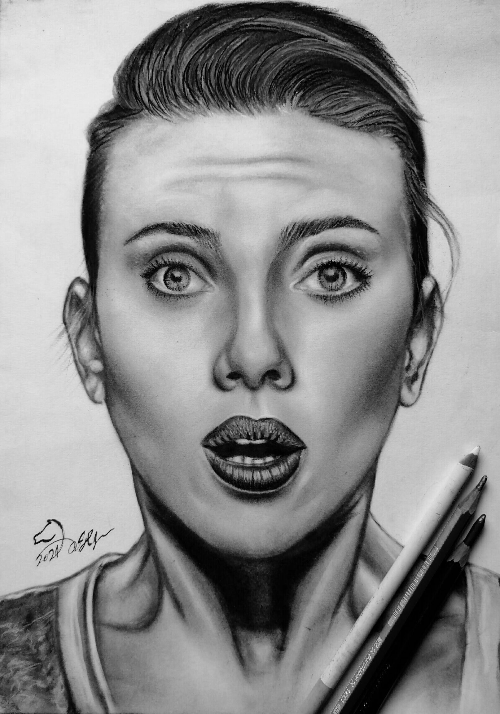 Scarlett Johansson Portrait Drawing رسم سكارليت جوهانسون بالفحم In 2021 Portrait Drawing Portrait Drawings