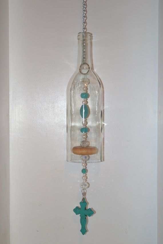 Wine Bottle Wind Chime Turquoise Cross Wind by WhiteRoosterShoppe