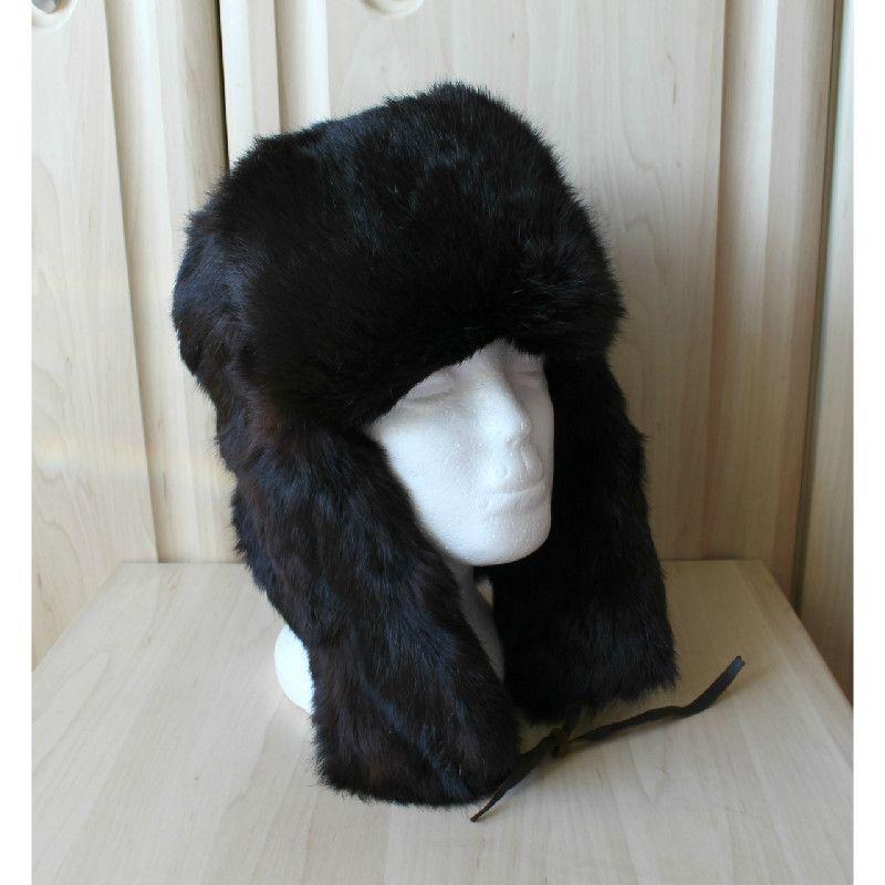 6610a4d6d0338 Vintage Real Rabbit Fur Skin Trapper Hat