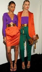 Split Complementary Color Scheme The Model On Right Is Wearing Orange Purple And