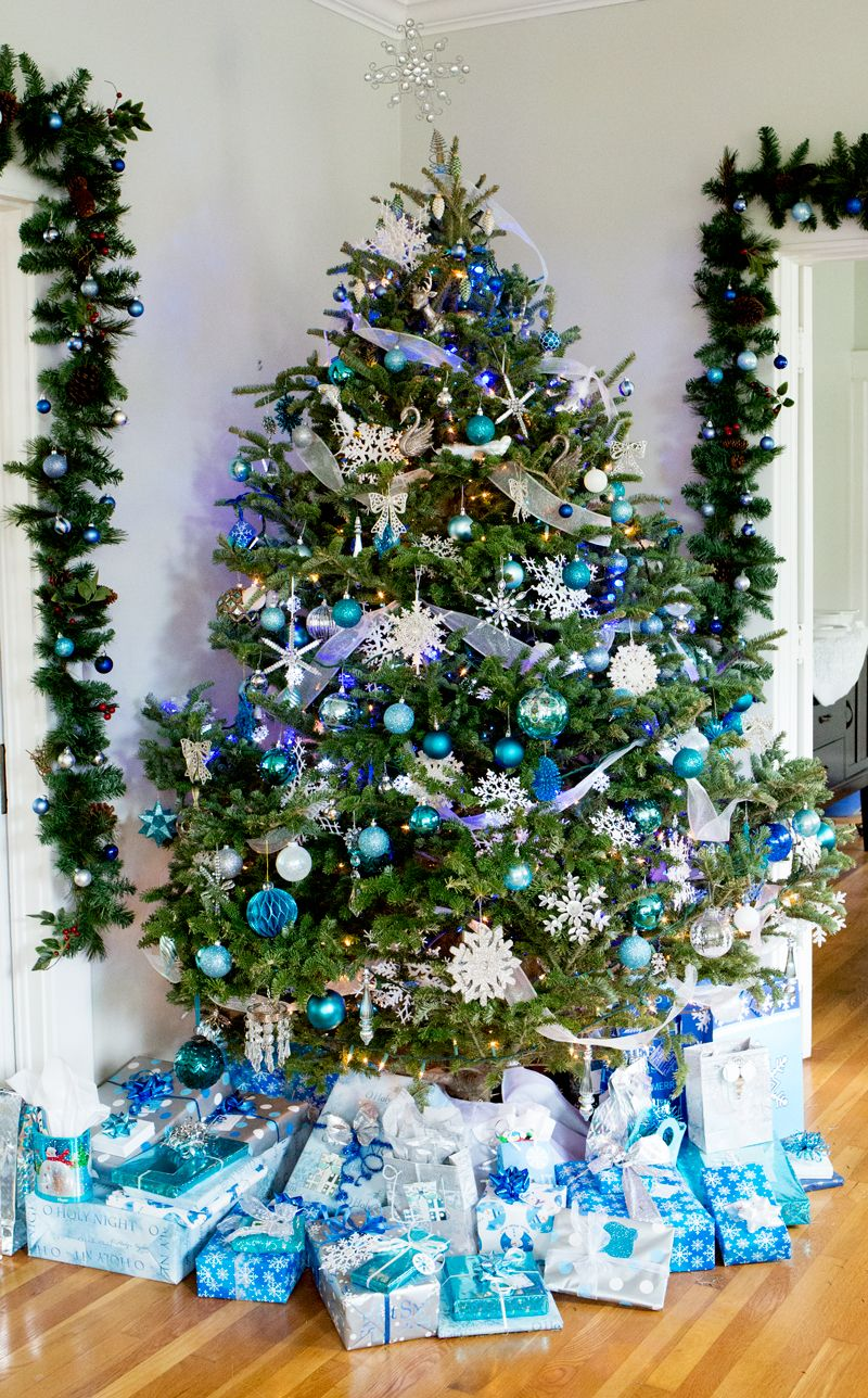 Blue Silver Snowflake Christmas Tree Presents | holiday party ...
