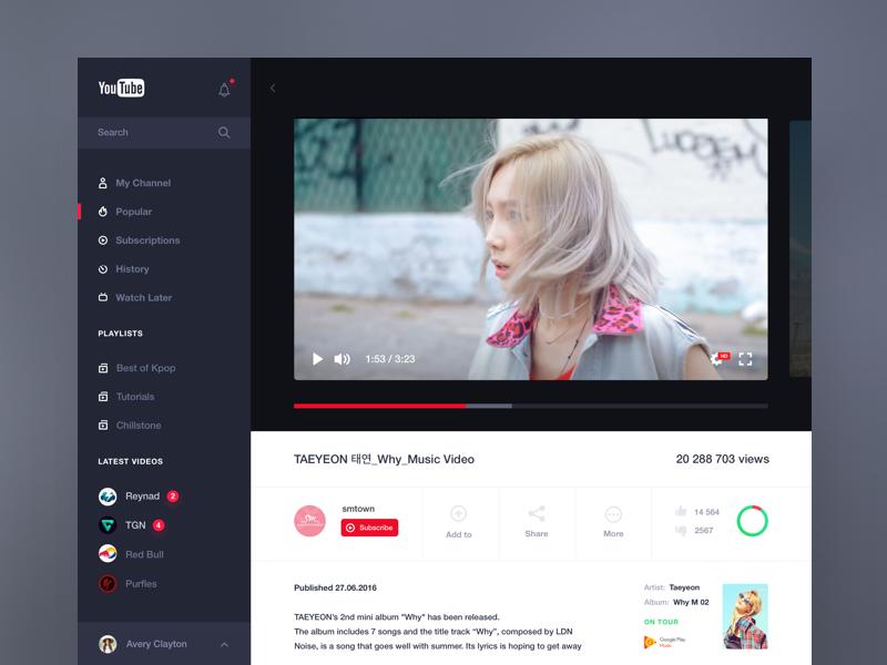 Youtube Concept Web Development Design Youtube Web Design