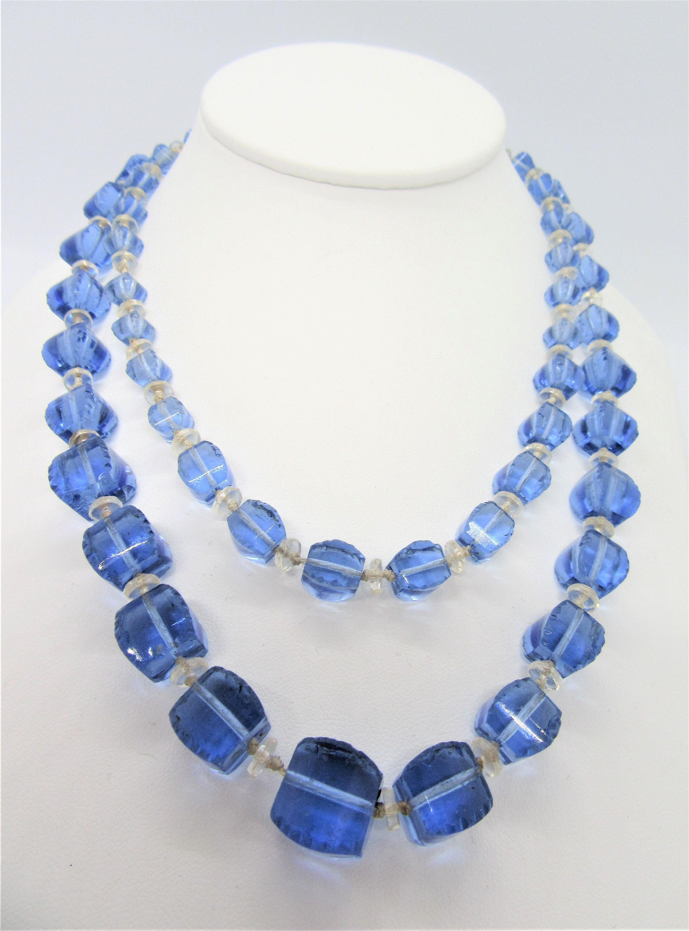Excited To Share The Latest Addition To My Etsy Shop Art Deco Glass Necklace Blue Crystals 2 Strand C Glass Necklace Art Deco Necklace Blue Beaded Necklace