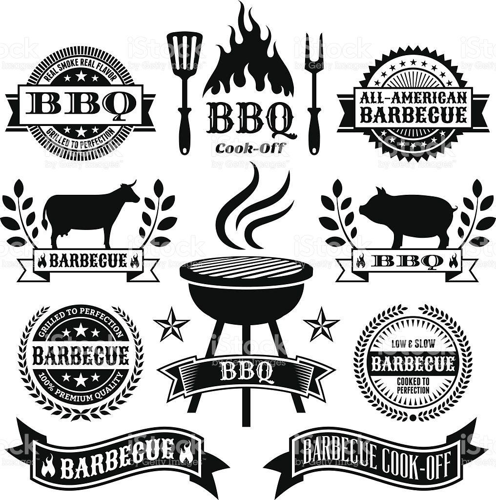 Letnij Barbekyu Chernyj I Belyj Vektornyj Ikona Set Royalti Fri Stok Vektor Stokovaya Fotografiya Summer Barbecue Barbecue Logo Bbq