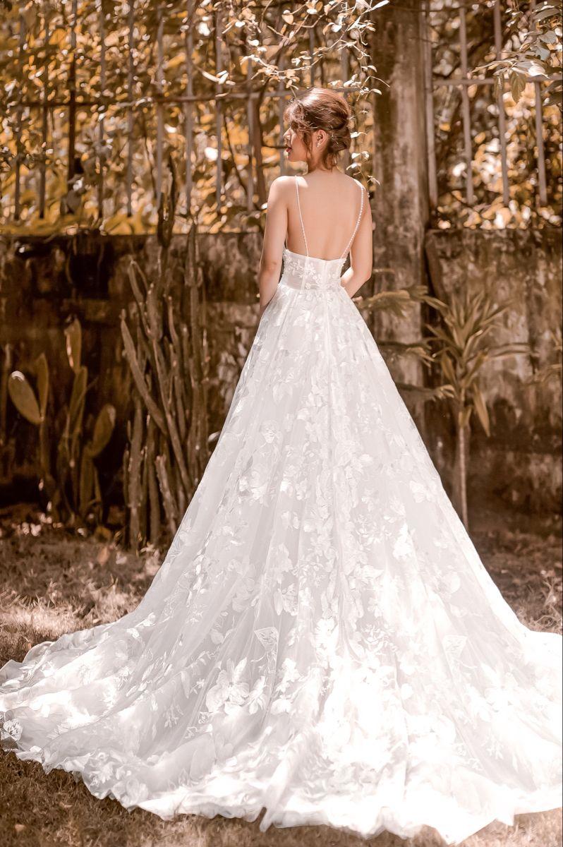 Rita A Line Floral Wedding Dress With Straps Low Back Etsy Wedding Dress Train Floral Wedding Dress Wedding Dresses Romantic [ 1200 x 798 Pixel ]