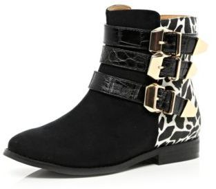 River Island Girls black leopard print buckle ankle boots on shopstyle.co.uk