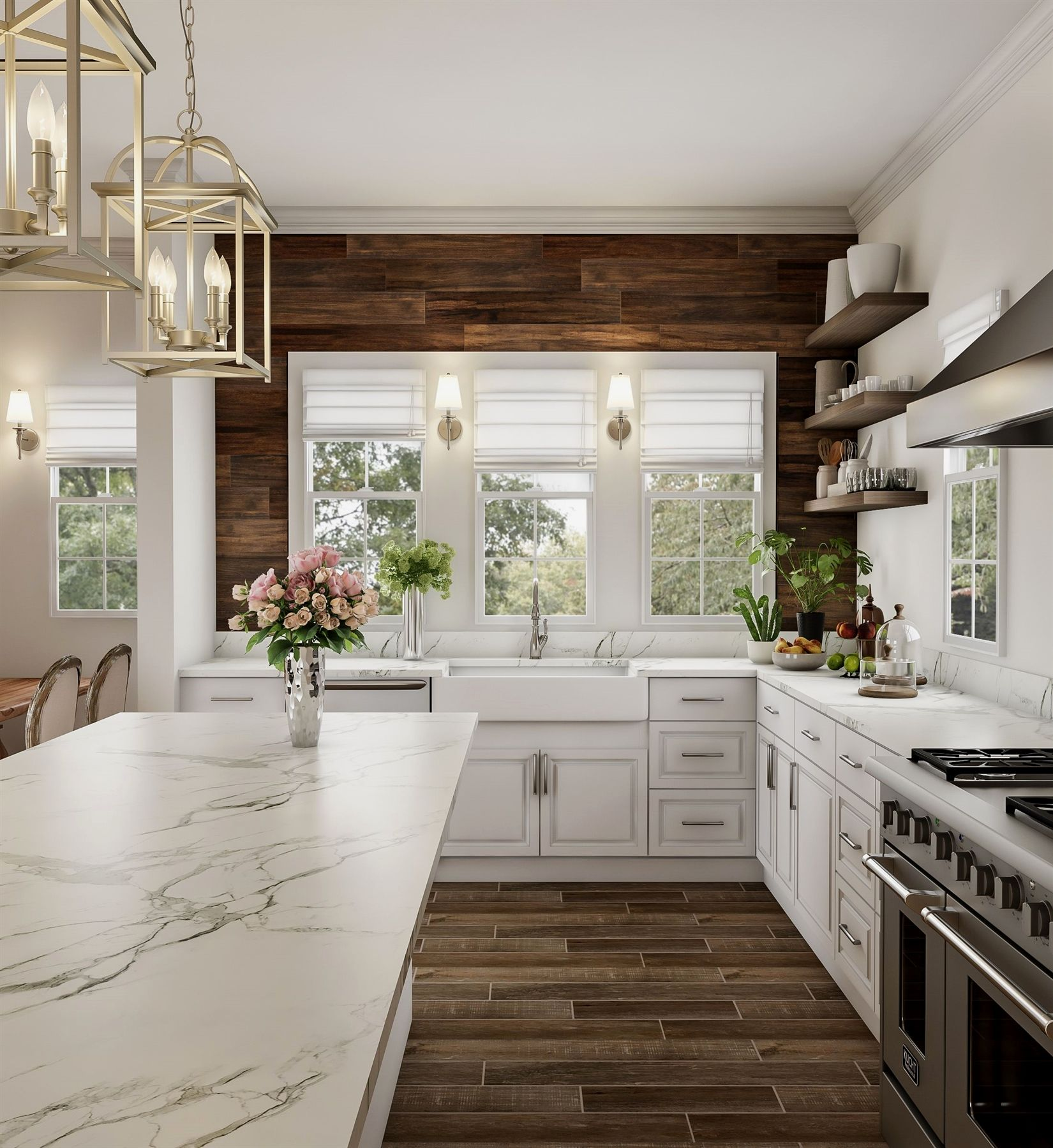 Redefine rustic with an elegant expanse of wood and marble. A ...