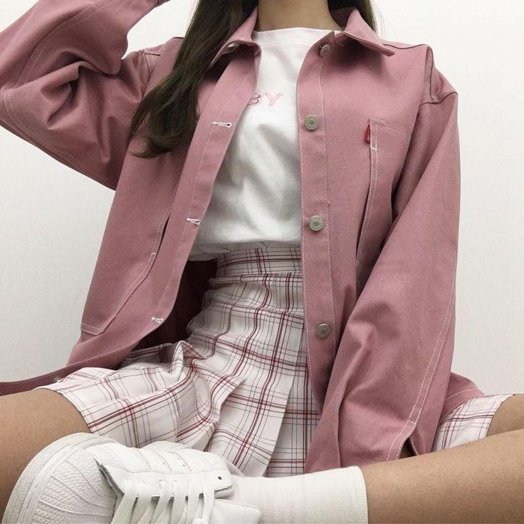 Photo of korean fashion casual street pink blush tennis skirt white sneakers shoes rain – Pinspace