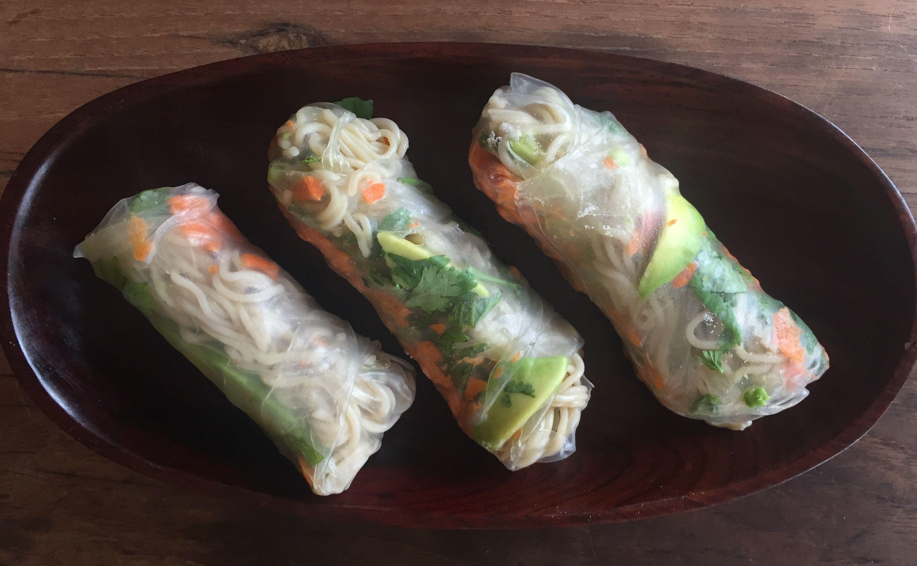 Forbidden rice ramen spring rolls spring rolls lotus