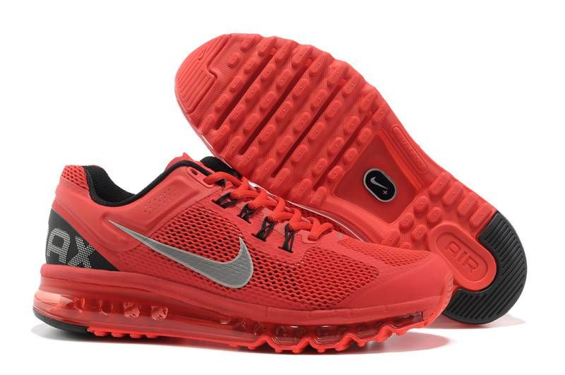 Nike Air Max 2013 Women Black Red Silver Running Shoes