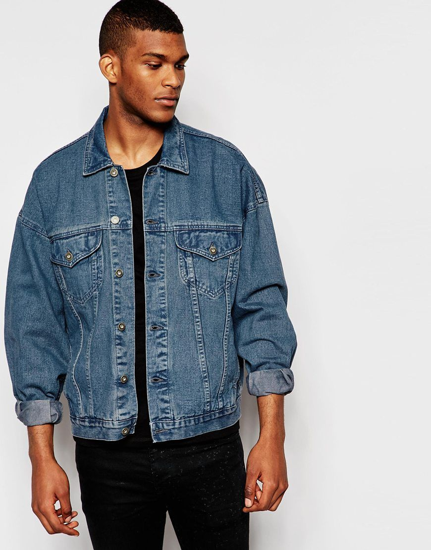 34e4f81fba ASOS Oversized Denim Jacket In Dark Blue Wash