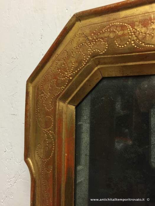 Oggettistica d`epoca - Specchi e cornici - Antica specchiera dorata e bulinata Specchiera a vassoio in legno dorato - Immagine n°6