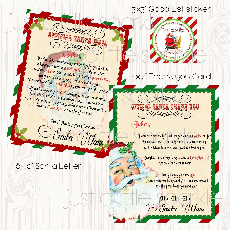 Letter from Santa Printable DIY Thank you note from Santa | Etsy ...