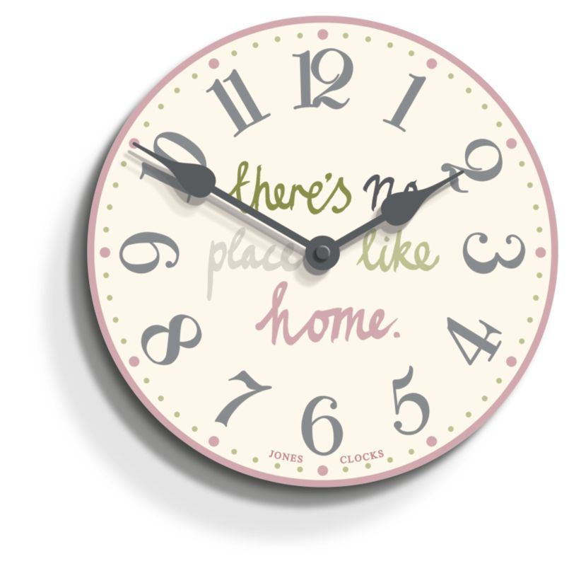 Black Kitchen Clock Argos: Jones Clocks No Place Like Home Clock In Cream And Pink