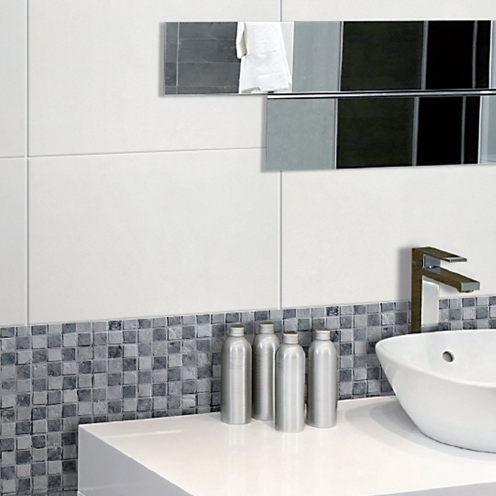 Tuscany White Gloss Rectified Wall Tile - Black And White Bathroom ...