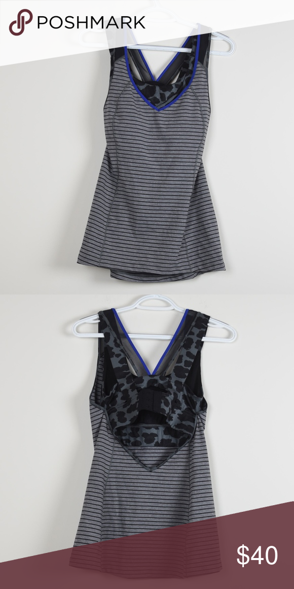 d0a437976b1e9 Lululemon Super Sport Tank Built in Bra Mesh 6 Lululemon Built in Bra Tank  Top Mesh Sleeves size 6 built in bra   three clasp link new condition grey  and ...