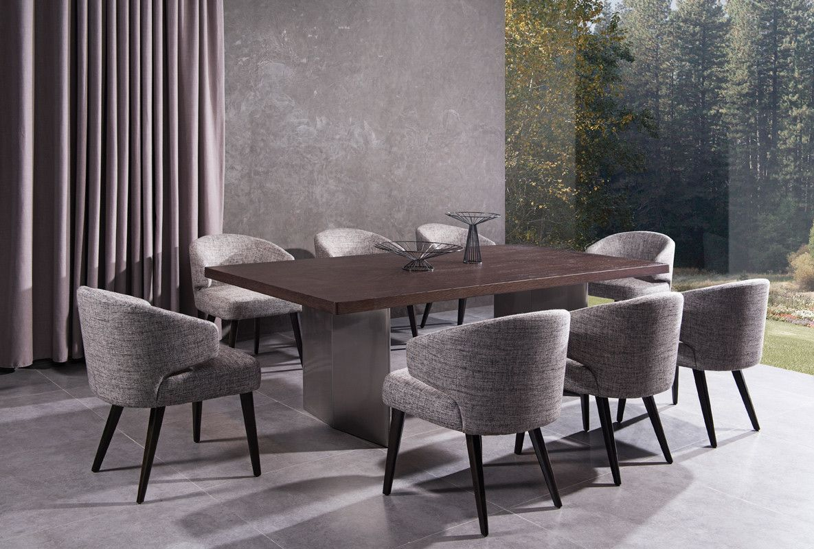 Modrest lexington modern brown oak dining table the modrest lexington modern brown oak dining table
