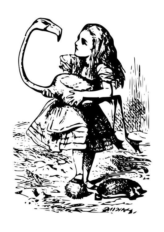 Coloriage Alice au pays des merveilles - flamant rose | Alice ...