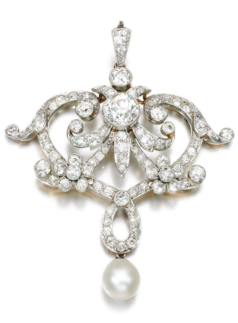 An edwardian pearl and diamond broochpendant circa of floral