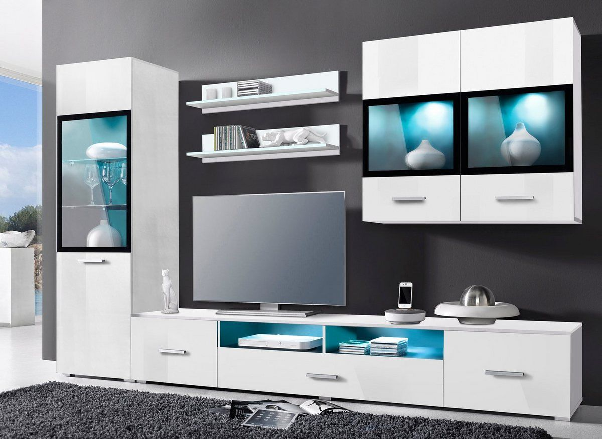 Wohnwand Sarah Set 5 Tlg In 2020 Modernes Fernsehzimmer Wohnen Wohnwand