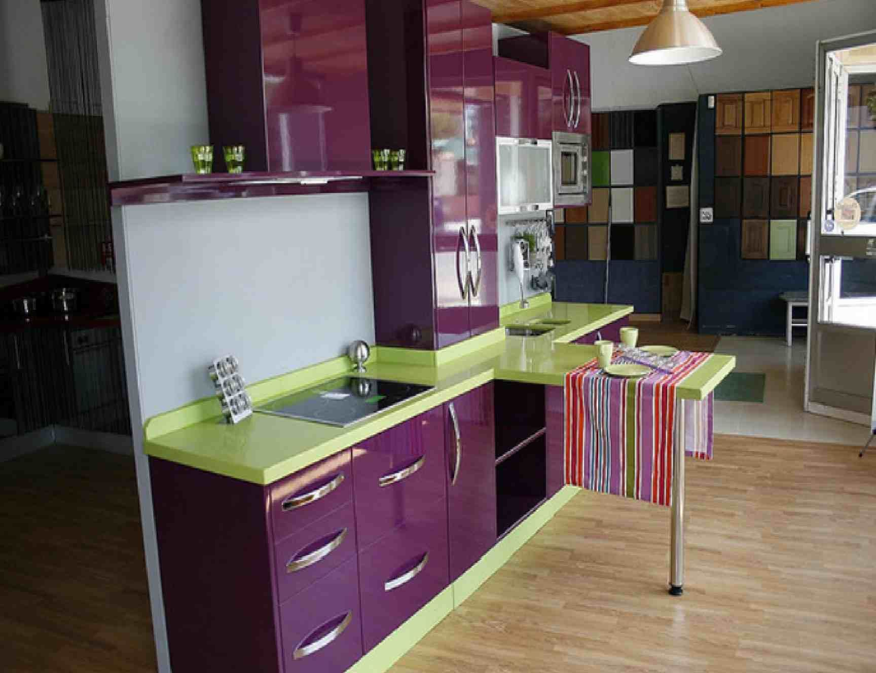 purple kitchen with lime counters!