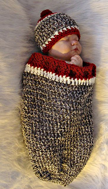 520 Sock Monkey Inspired Cocoon and Hat pattern by Sandy Powers #crochetbabycocoon