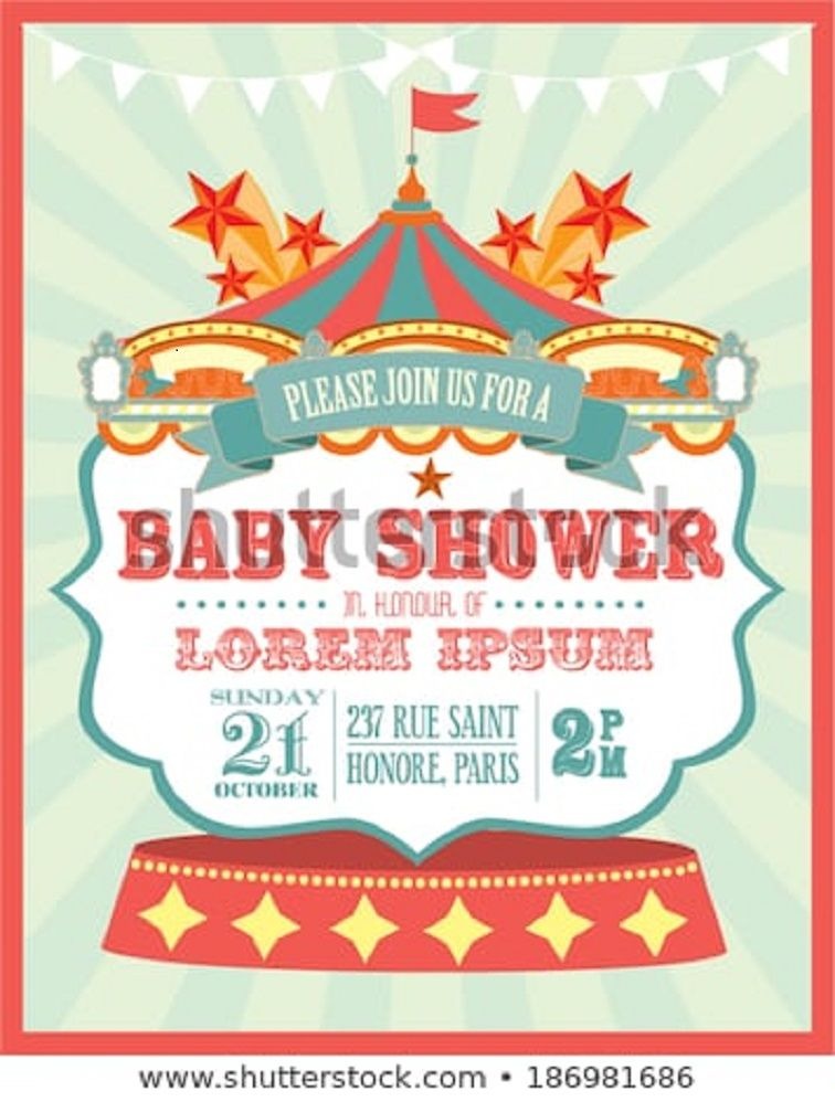 Carnival Baby Shower Invitation Template Party Invitation Card In