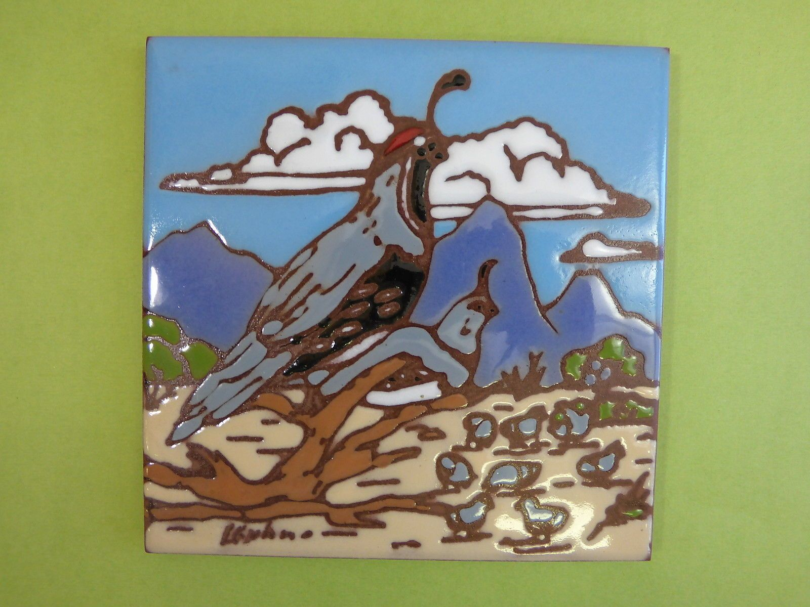 Details about Ceramic Art Tile 6x6 Southwest Rug Howling