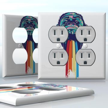 Diy 2 Gang Wall Socket Duplex Receptacle Decal Skin Wrap Sticker Plates On Wall Receptacles Light Switch