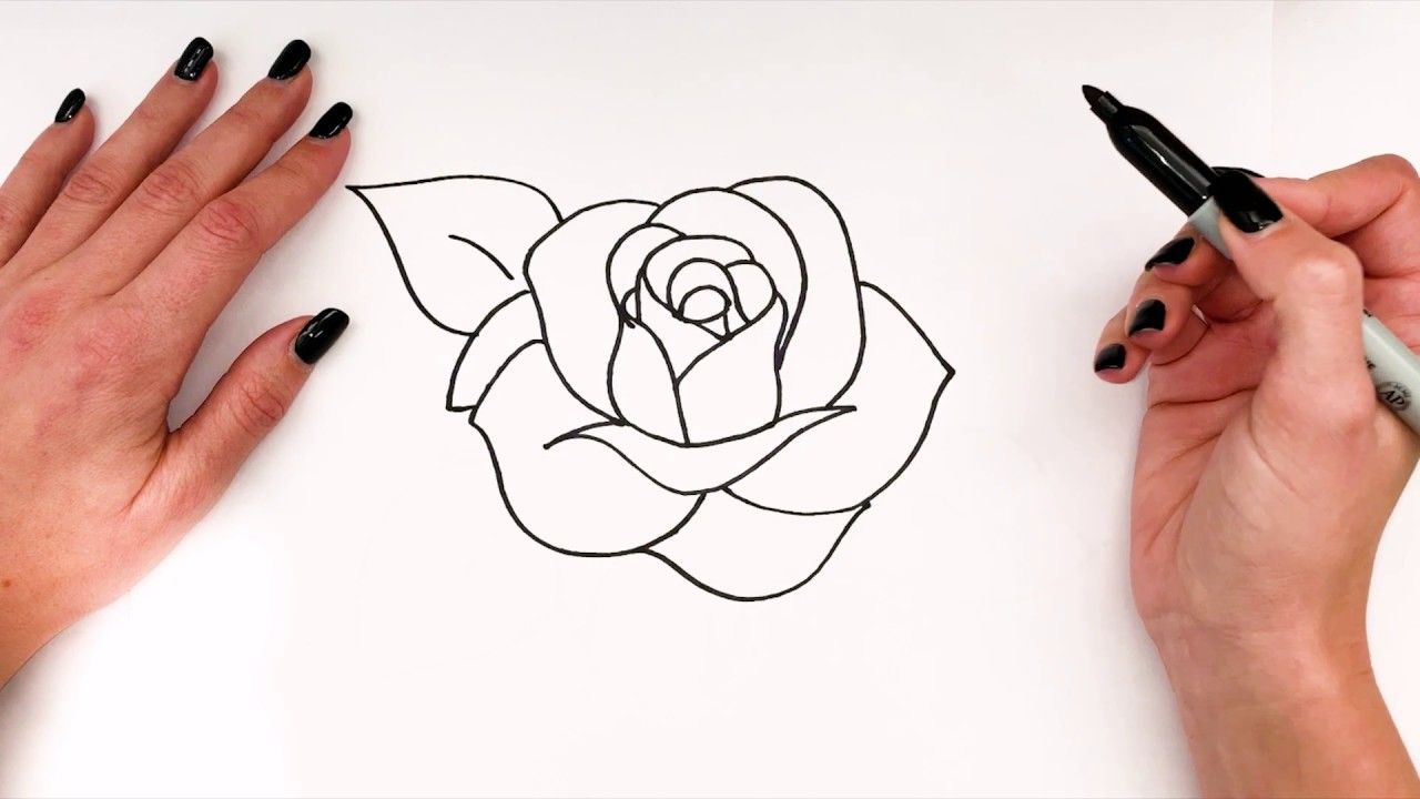How To Draw A Rose Rose Drawing Easy Step By Step Super Easy Dra Super Easy Drawings Easy Flower Drawings Rose Drawing