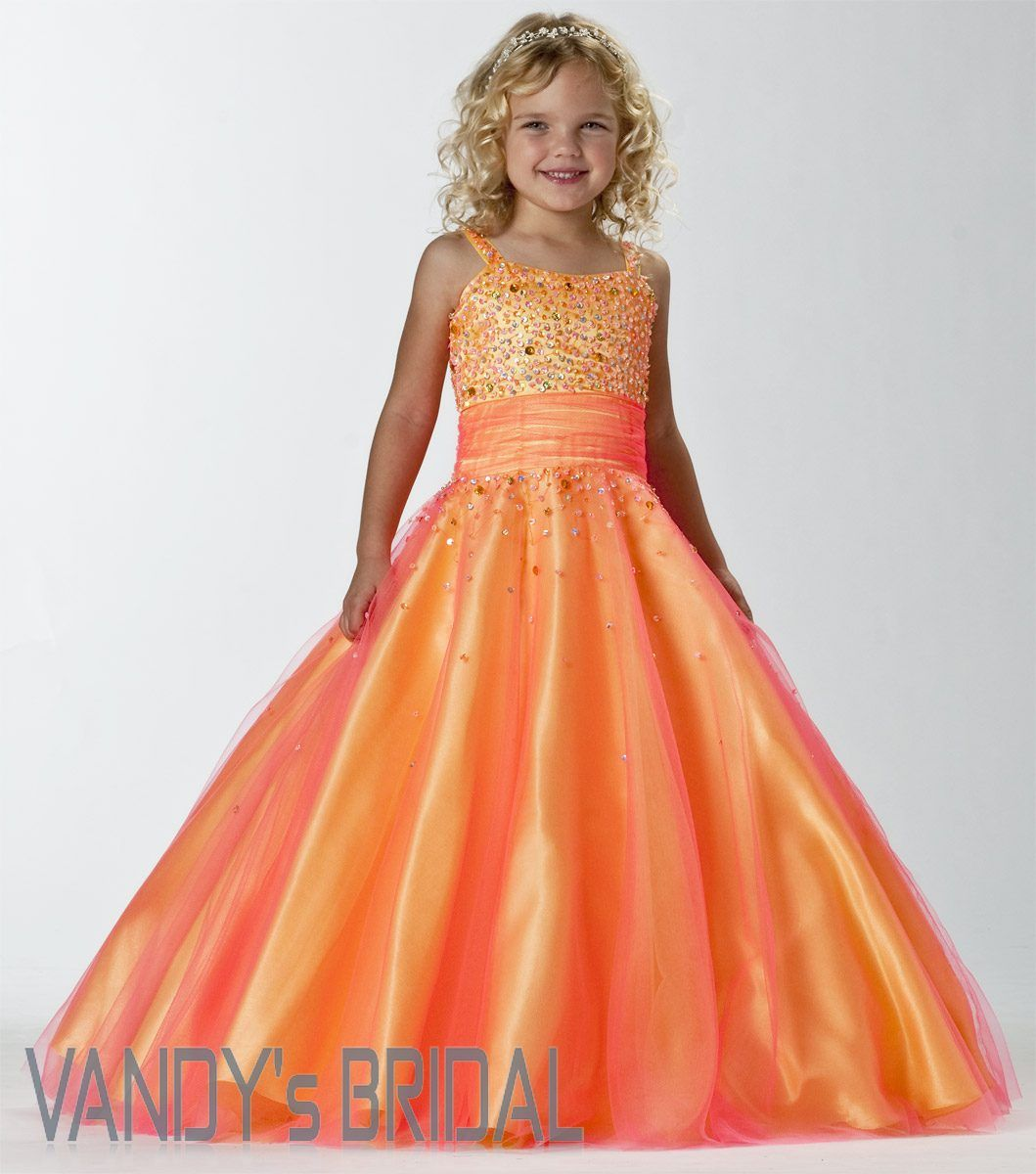A line strap floor length sleeveless satin orange flower girl dress a line strap floor length sleeveless satin orange flower girl dress beadingjsas7963 izmirmasajfo