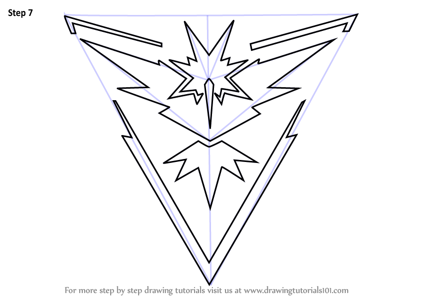 Learn How To Draw Team Instinct From Pokemon Go Pokemon Go Step By Step Drawing Tutorials Team Instinct Pokemon Go Drawing Tutorial