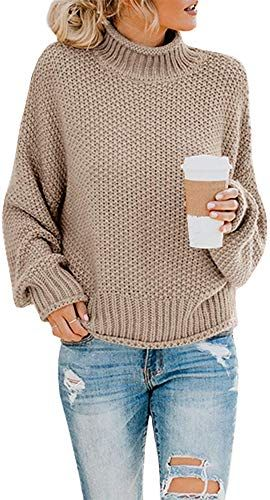 Enjoy exclusive for Ashuai Womens Turtleneck Sweaters Oversized Chunky Batwing Long Sleeve Pullover Loose Knitted Jumper Top online - Prettyclothingstyle