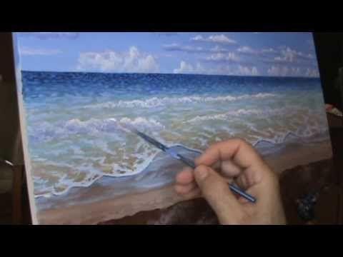 Cours De Peinture: Comment Peindre Une Plage Tropicale Et Son Eau Turquoise  Et Clair Utilisant De Lu0027acrylic Sur La Toile Cm. Demonstration De Peinture .