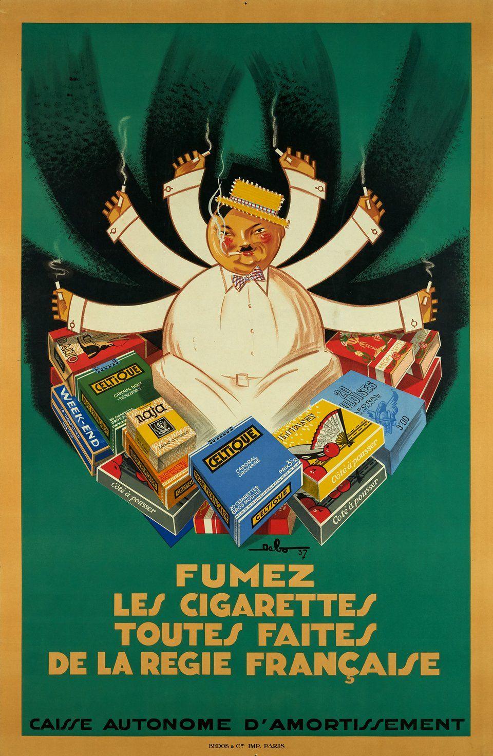 Fumez Les Cigarettes Toutes Faites De Regie Francaise DABO 1937