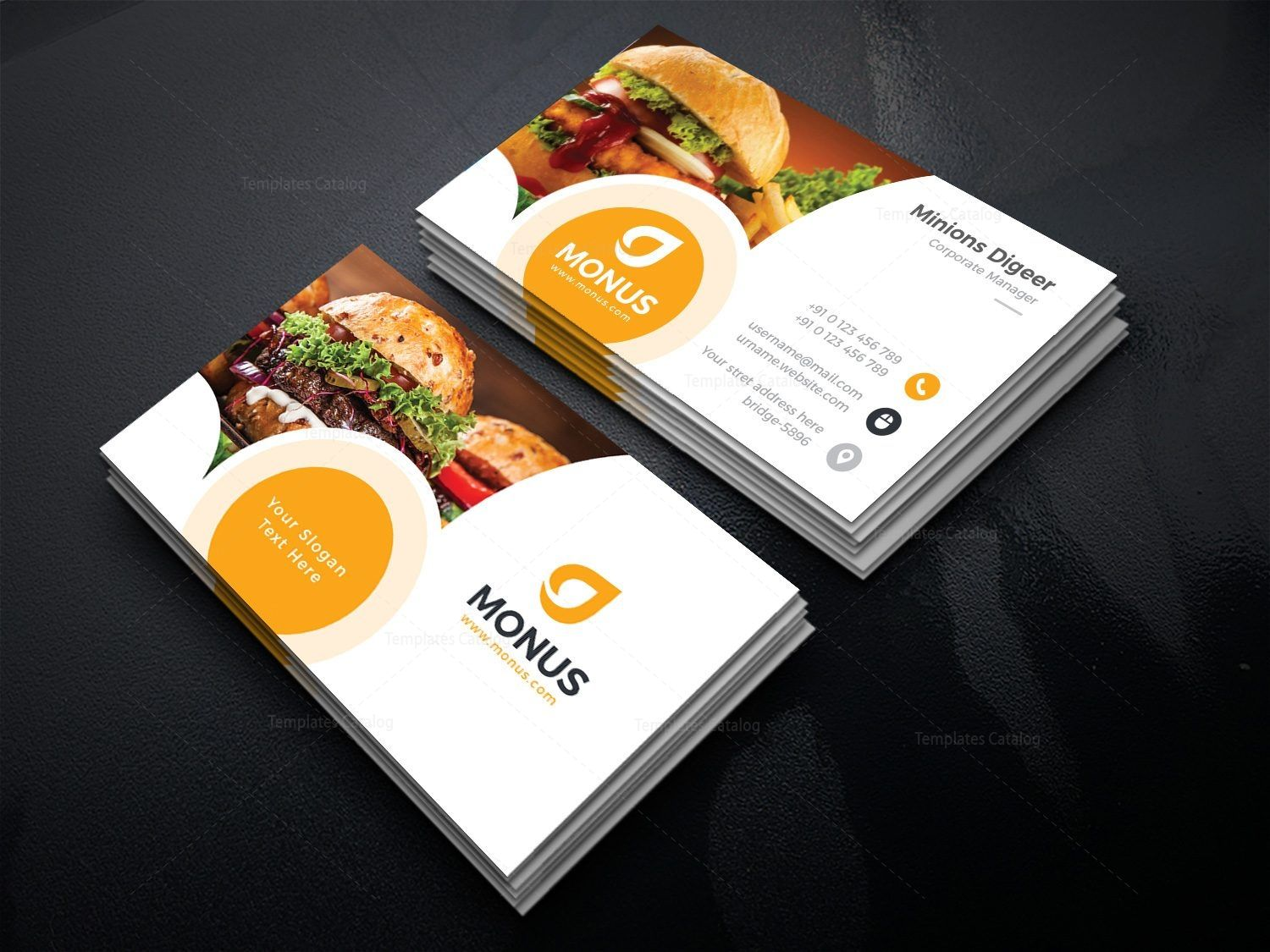 Burger Business Card Design Template 001587 Template Catalog Food Business Card Business Card Template Design Business Card Design