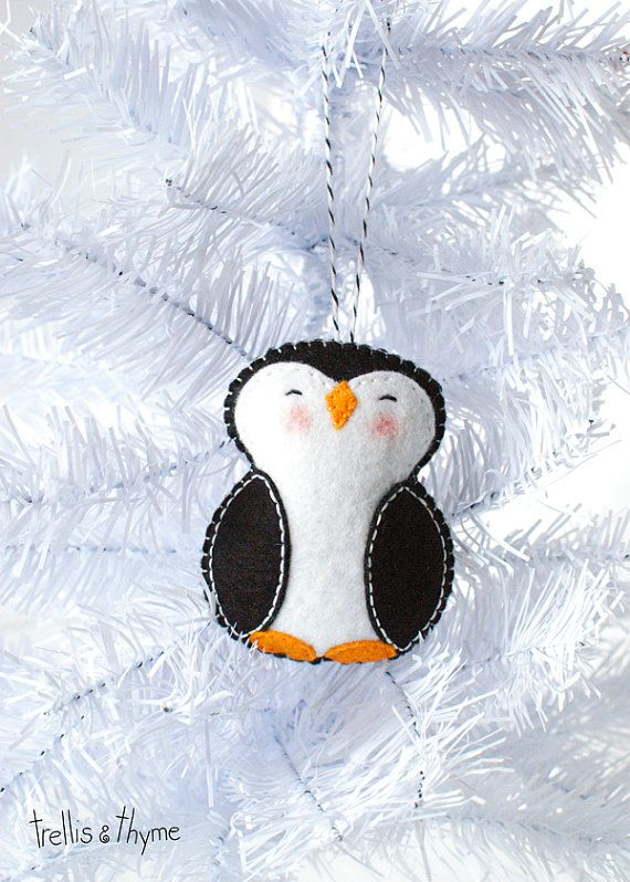 pdf pattern little penguin winter felt ornament pattern christmas ornament softie pattern holiday sewing pattern