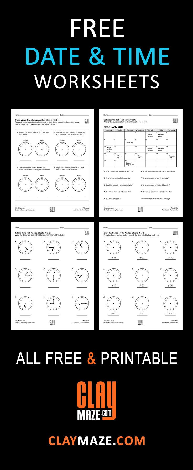 Free Children S Date And Time Worksheets This Collection Conta Addition And Subtraction Worksheets Fractions Worksheets Multiplication And Division Worksheets
