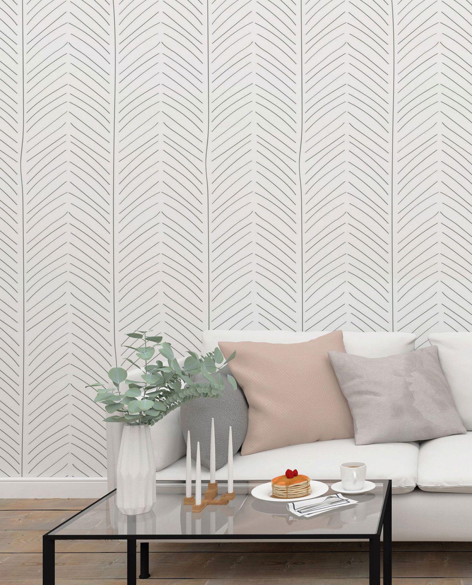 Herringbone Wallpaper, Removable Wallpaper, Smooth